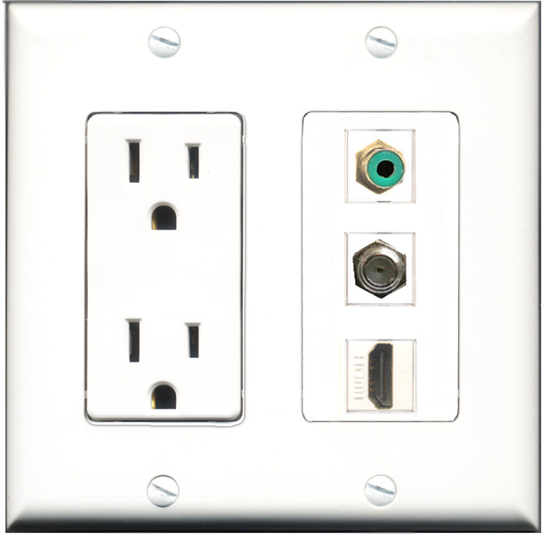 Wallplate City - 15 Amp Power Outlet 1 Port HDMI 1 Port RCA Green 1 Port Coax Decorative Wall Plate