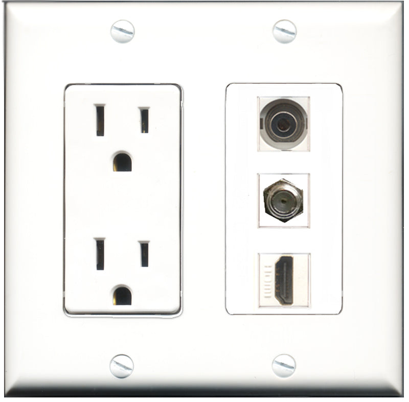 Wallplate City - 15 Amp Power Outlet 1 Port HDMI 1 Port Coax 1 Port 3.5mm Decorative Wall Plate