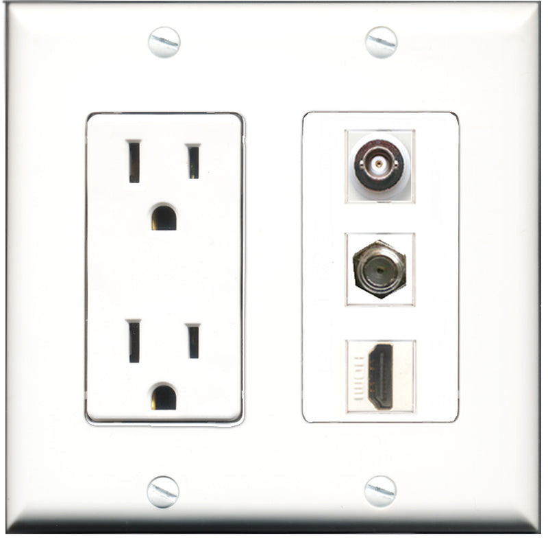 Wallplate City - 15 Amp Power Outlet 1 Port HDMI 1 Port Coax 1 Port BNC Decorative Wall Plate