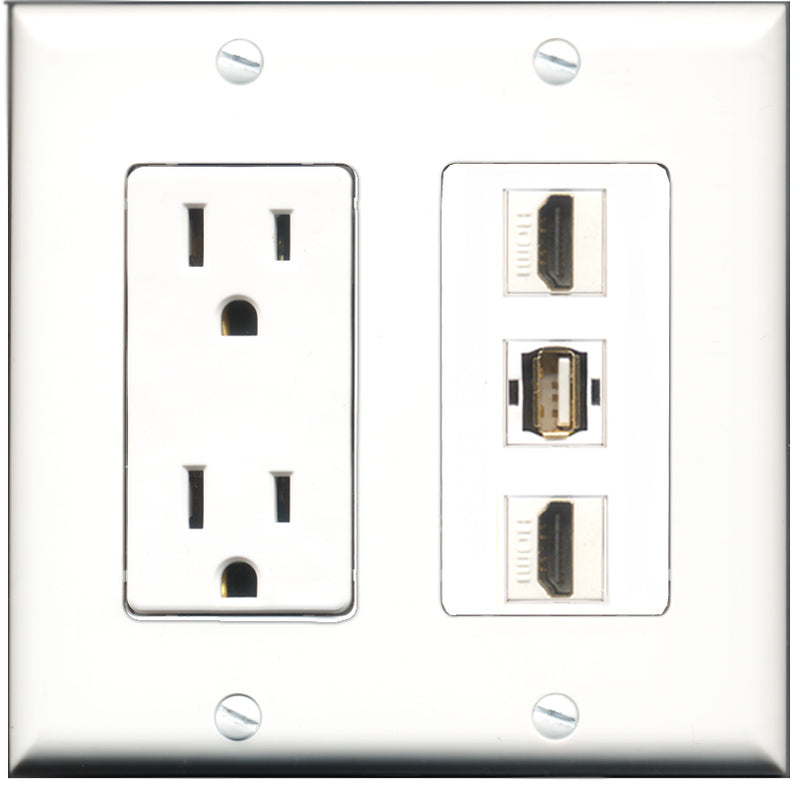Wallplate City - 15 Amp Power Outlet 2 Port HDMI 1 Port USB A-A Decorative Wall Plate