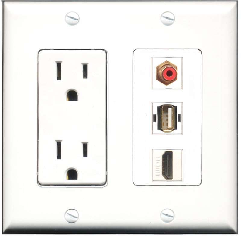 Wallplate City - 15 Amp Power Outlet 1 Port HDMI 1 Port RCA Red 1 Port USB A-A Decorative Wall Plate