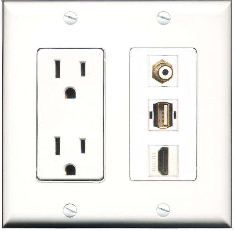 Wallplate City - 15 Amp Power Outlet 1 Port HDMI 1 Port RCA White 1 Port USB A-A Decorative Wall Plate