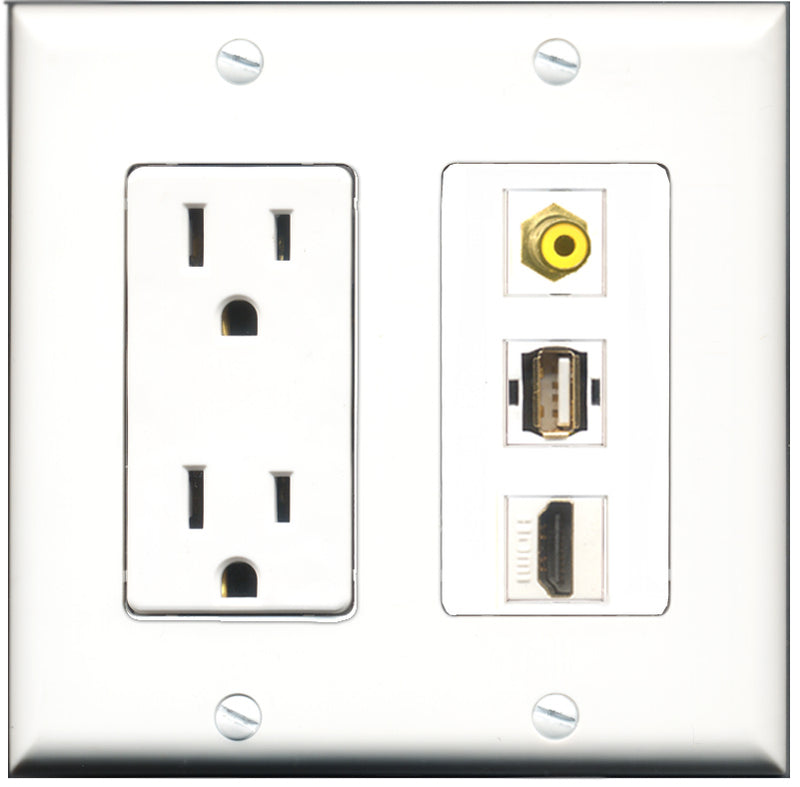 Wallplate City - 15 Amp Power Outlet 1 Port HDMI 1 Port RCA Yellow 1 Port USB A-A Decorative Wall Plate