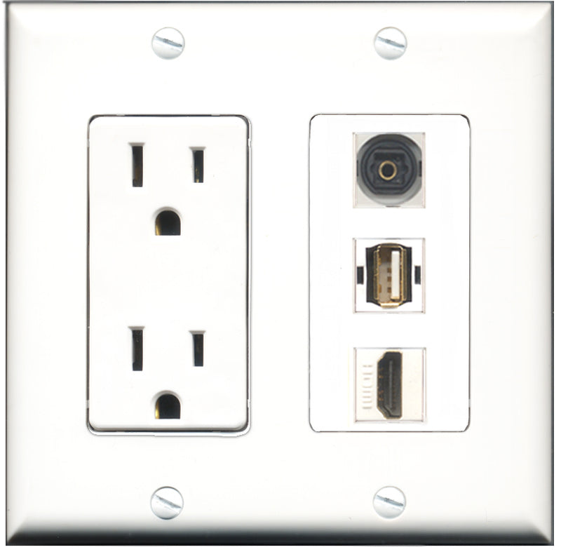 Wallplate City - 15 Amp Power Outlet 1 Port HDMI 1 Port USB A-A 1 Port Toslink Decorative Wall Plate