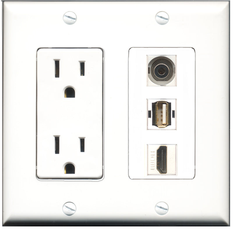 Wallplate City - 15 Amp Power Outlet 1 Port HDMI 1 Port USB A-A 1 Port 3.5mm Decorative Wall Plate