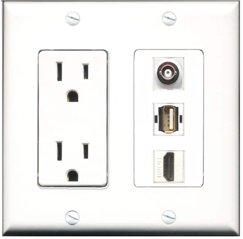Wallplate City - 15 Amp Power Outlet 1 Port HDMI 1 Port USB A-A 1 Port BNC Decorative Wall Plate