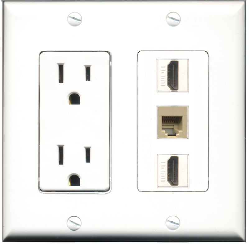 Wallplate City - 15 Amp Power Outlet 2 Port HDMI 1 Port Phone RJ11 RJ12 Beige Decorative Wall Plate