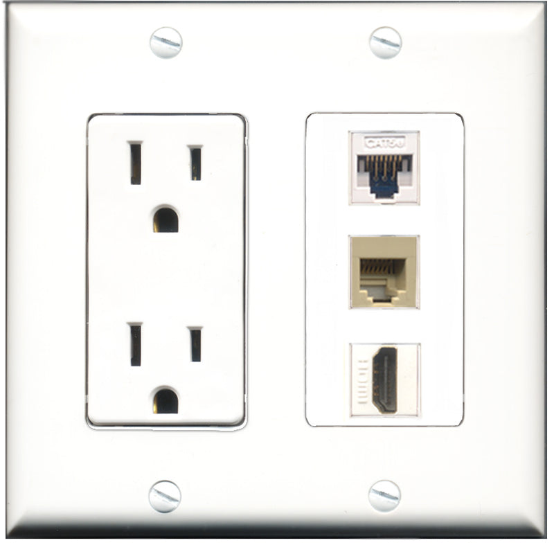 Wallplate City - 15 Amp Power Outlet 1 Port HDMI 1 Port Phone RJ11 RJ12 Beige 1 Port Cat5e White Decorative Wall Plate