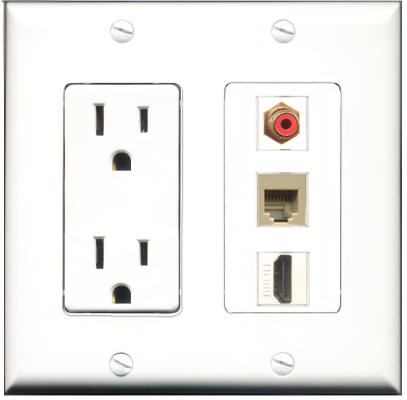 Wallplate City - 15 Amp Power Outlet 1 Port HDMI 1 Port RCA Red 1 Port Phone RJ11 RJ12 Beige Decorative Wall Plate