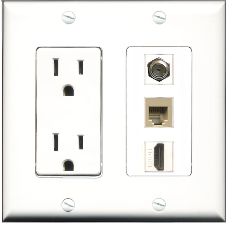 Wallplate City - 15 Amp Power Outlet 1 Port HDMI 1 Port Coax 1 Port Phone RJ11 RJ12 Beige Decorative Wall Plate