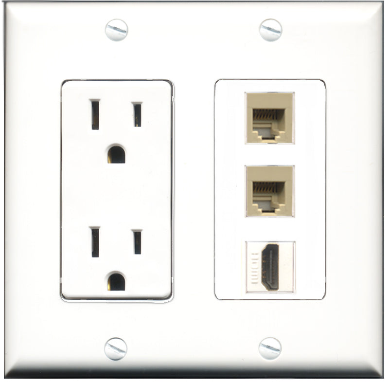 Wallplate City - 15 Amp Power Outlet 1 Port HDMI 2 Port Phone RJ11 RJ12 Beige Decorative Wall Plate