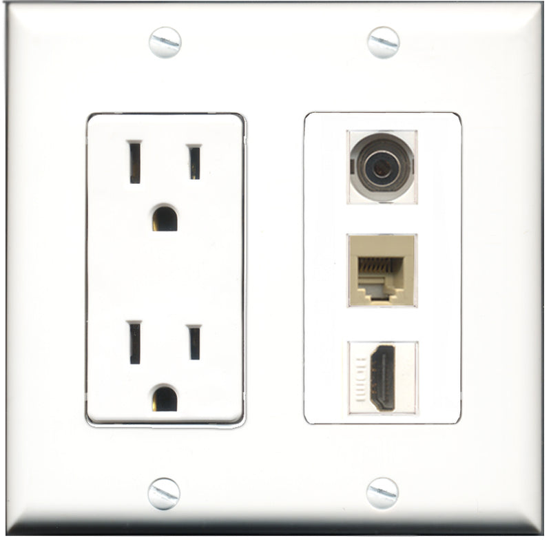 Wallplate City - 15 Amp Power Outlet 1 Port HDMI 1 Port Phone RJ11 RJ12 Beige 1 Port 3.5mm Decorative Wall Plate