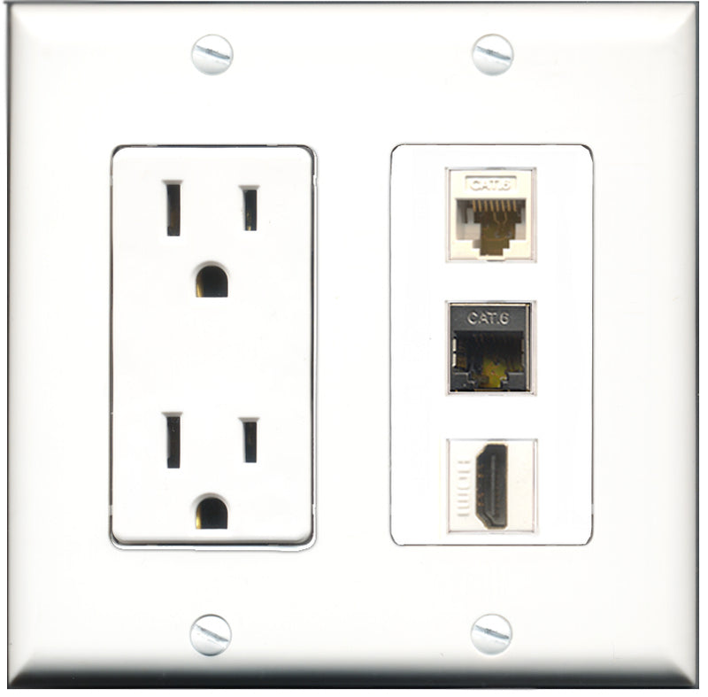 Wallplate City - 15 Amp Power Outlet 1 Port HDMI 1 Port Shielded Cat6 1 Port Cat6 White Decorative Wall Plate
