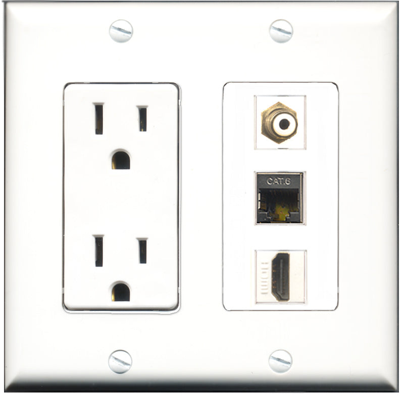 Wallplate City - 15 Amp Power Outlet 1 Port HDMI 1 Port RCA White 1 Port Shielded Cat6 Decorative Wall Plate