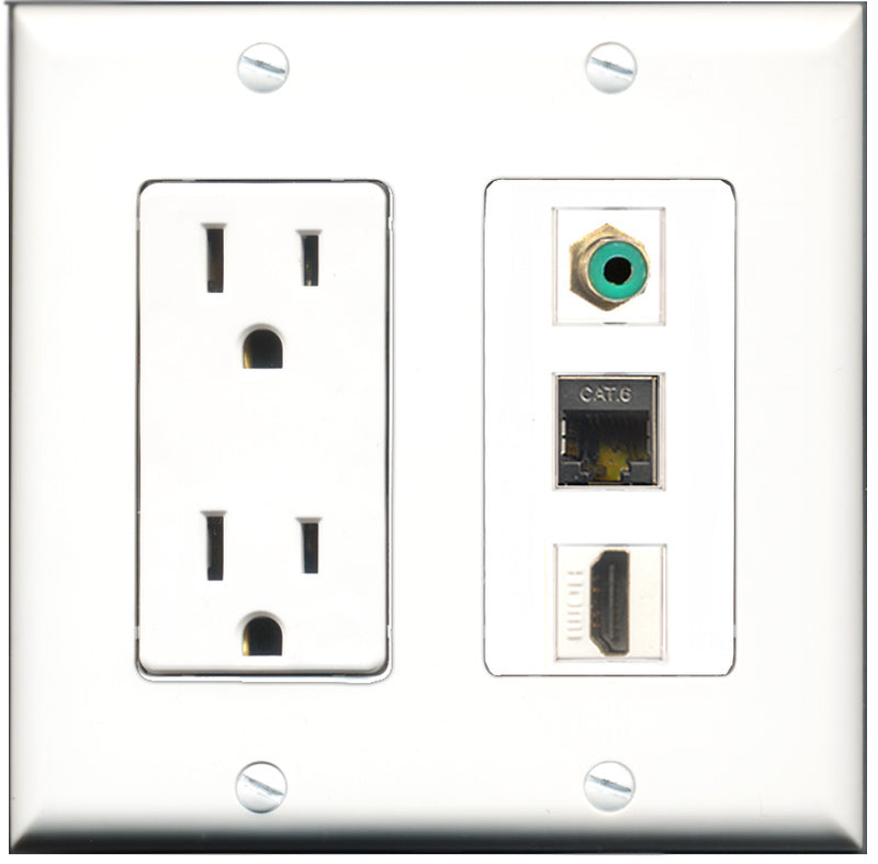 Wallplate City - 15 Amp Power Outlet 1 Port HDMI 1 Port RCA Green 1 Port Shielded Cat6 Decorative Wall Plate