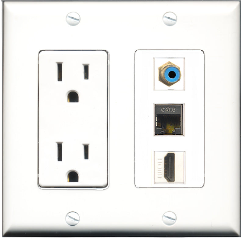 Wallplate City - 15 Amp Power Outlet 1 Port HDMI 1 Port RCA Blue 1 Port Shielded Cat6 Decorative Wall Plate