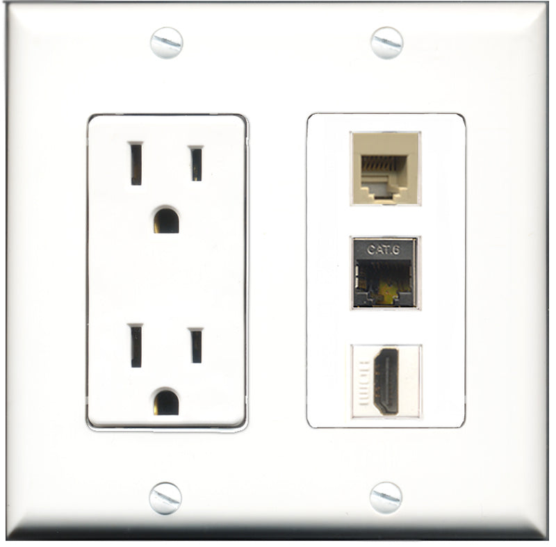 Wallplate City - 15 Amp Power Outlet 1 Port HDMI 1 Port Phone RJ11 RJ12 Beige 1 Port Shielded Cat6 Decorative Wall Plate