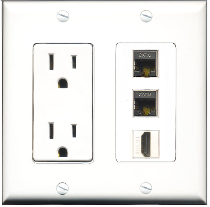 Wallplate City - 15 Amp Power Outlet 1 Port HDMI 2 Port Shielded Cat6 Decorative Wall Plate