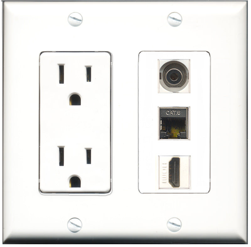 Wallplate City - 15 Amp Power Outlet 1 Port HDMI 1 Port Shielded Cat6 1 Port 3.5mm Decorative Wall Plate