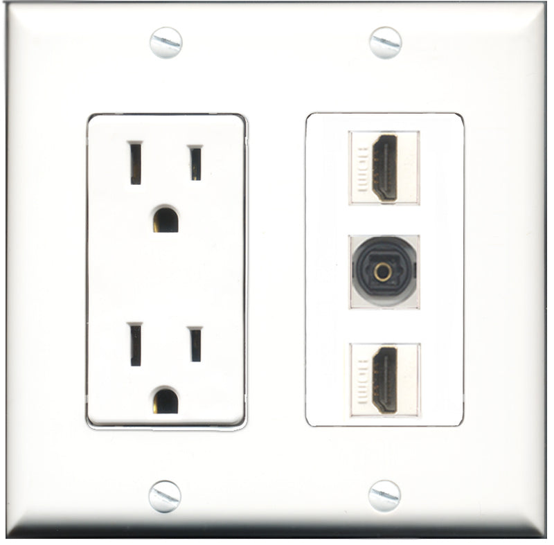 Wallplate City - 15 Amp Power Outlet 2 Port HDMI 1 Port Toslink Decorative Wall Plate