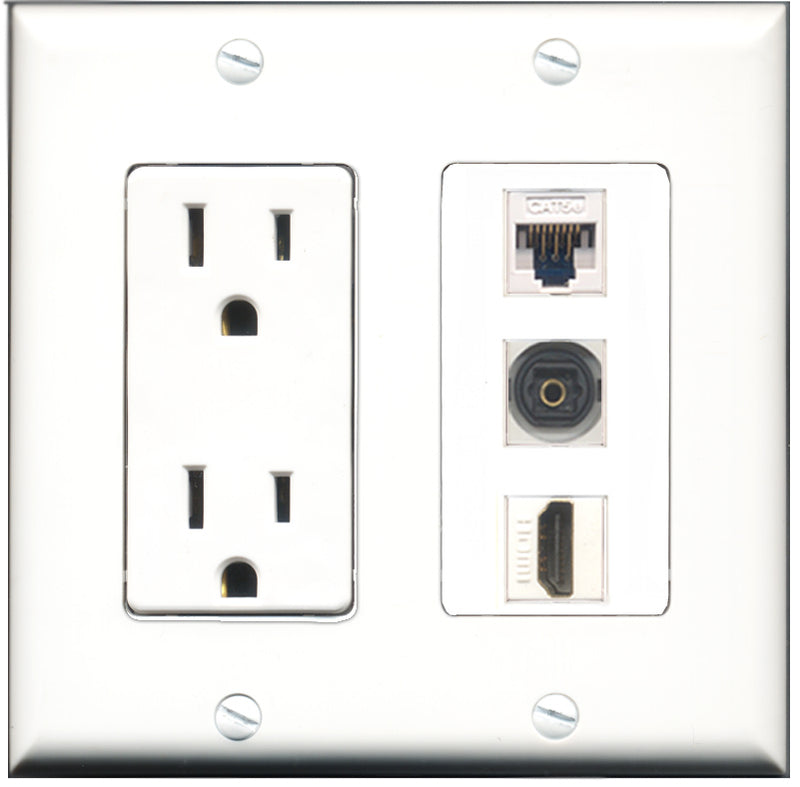Wallplate City - 15 Amp Power Outlet 1 Port HDMI 1 Port Toslink 1 Port Cat5e White Decorative Wall Plate