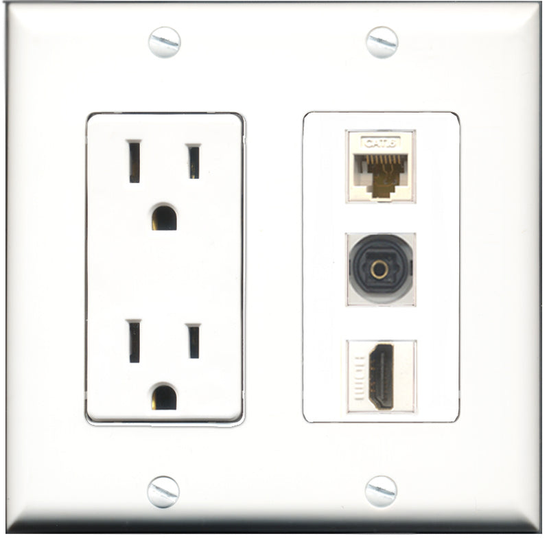 Wallplate City - 15 Amp Power Outlet 1 Port HDMI 1 Port Toslink 1 Port Cat6 White Decorative Wall Plate
