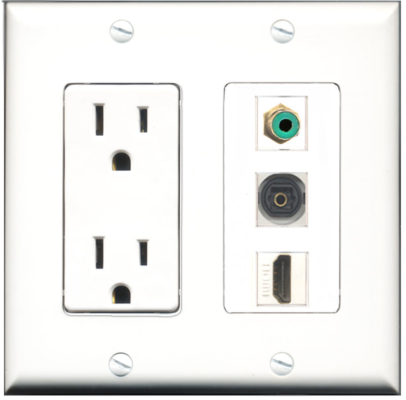 Wallplate City - 15 Amp Power Outlet 1 Port HDMI 1 Port RCA Green 1 Port Toslink Decorative Wall Plate