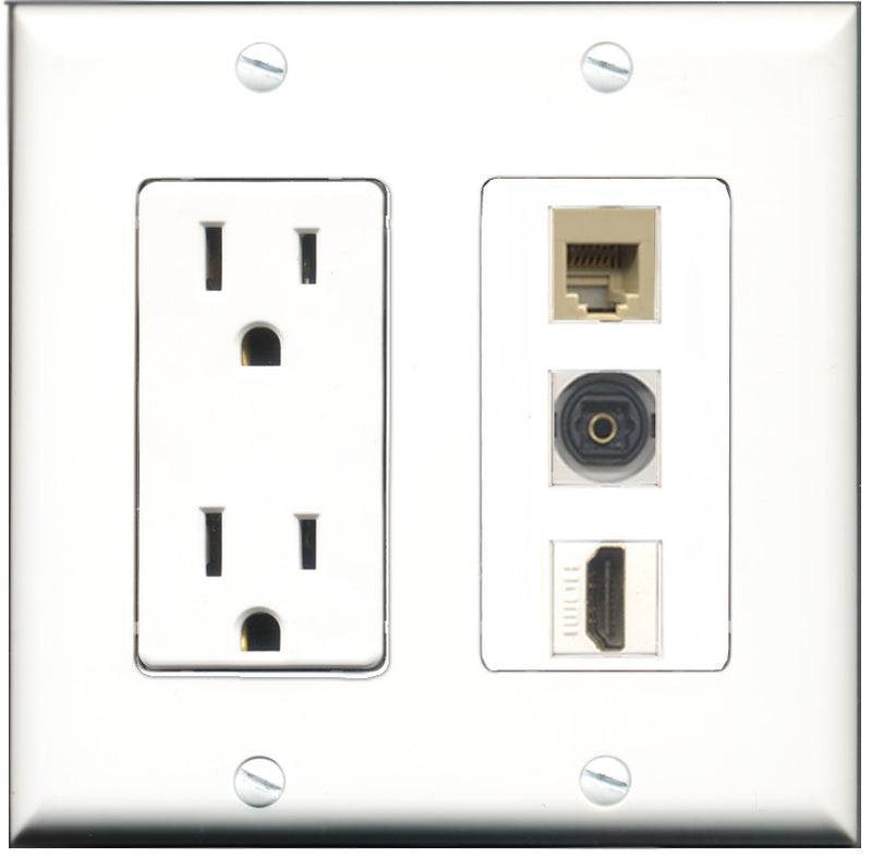 Wallplate City - 15 Amp Power Outlet 1 Port HDMI 1 Port Phone RJ11 RJ12 Beige 1 Port Toslink Decorative Wall Plate