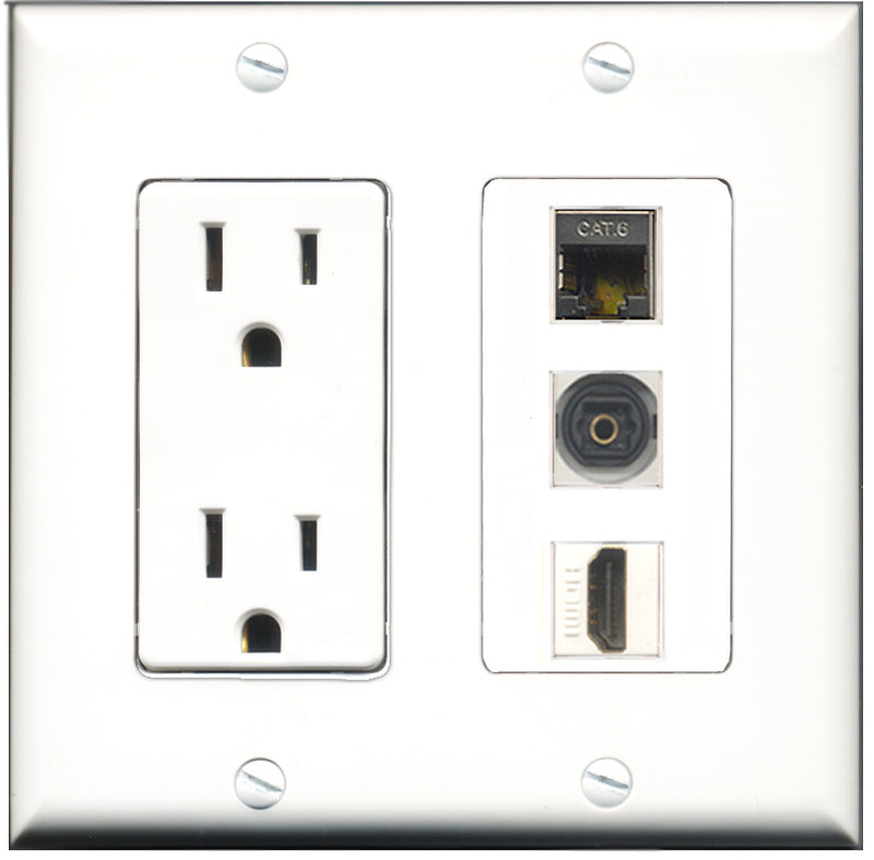 Wallplate City - 15 Amp Power Outlet 1 Port HDMI 1 Port Shielded Cat6 1 Port Toslink Decorative Wall Plate