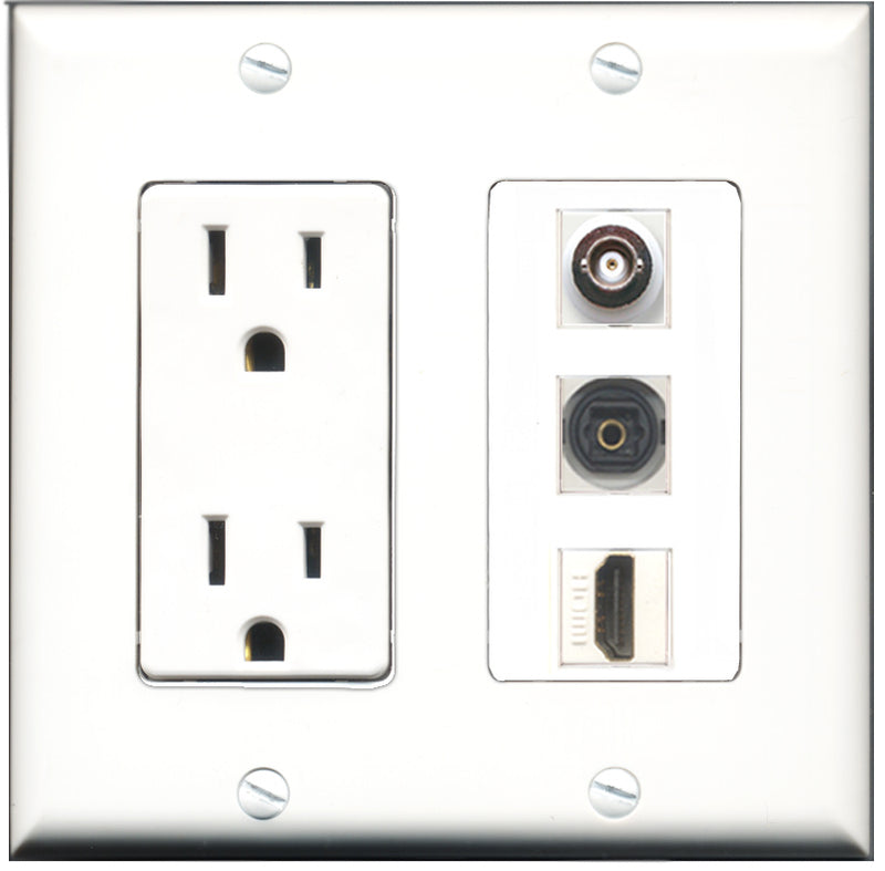Wallplate City - 15 Amp Power Outlet 1 Port HDMI 1 Port Toslink 1 Port BNC Decorative Wall Plate
