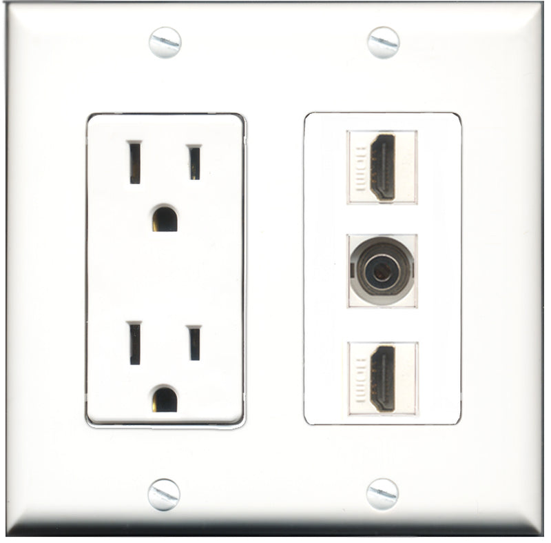 Wallplate City - 15 Amp Power Outlet 2 Port HDMI 1 Port 3.5mm Decorative Wall Plate