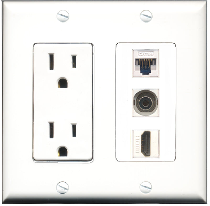 Wallplate City - 15 Amp Power Outlet 1 Port HDMI 1 Port 3.5mm 1 Port Cat5e White Decorative Wall Plate