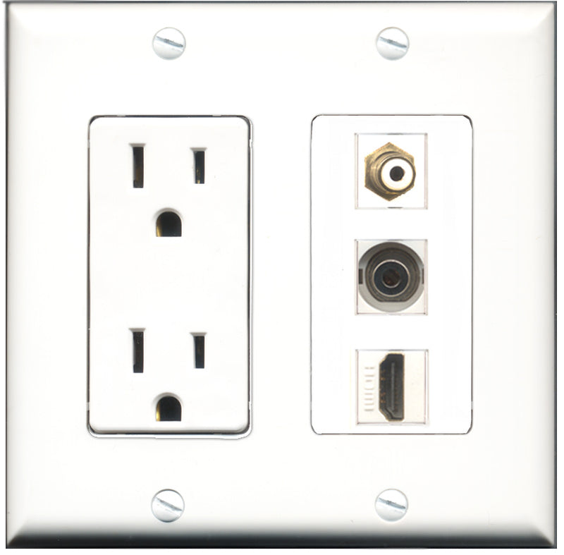 Wallplate City - 15 Amp Power Outlet 1 Port HDMI 1 Port RCA White 1 Port 3.5mm Decorative Wall Plate