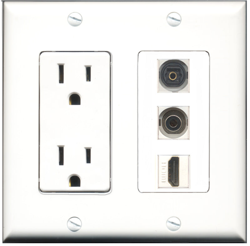 Wallplate City - 15 Amp Power Outlet 1 Port HDMI 1 Port Toslink 1 Port 3.5mm Decorative Wall Plate
