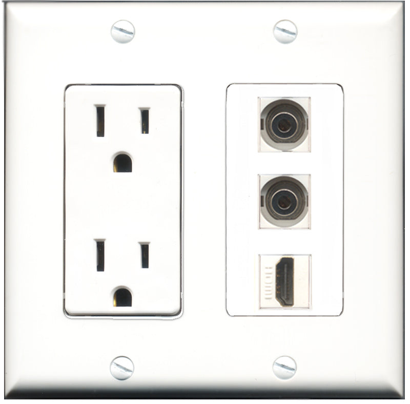 Wallplate City - 15 Amp Power Outlet 1 Port HDMI 2 Port 3.5mm Decorative Wall Plate
