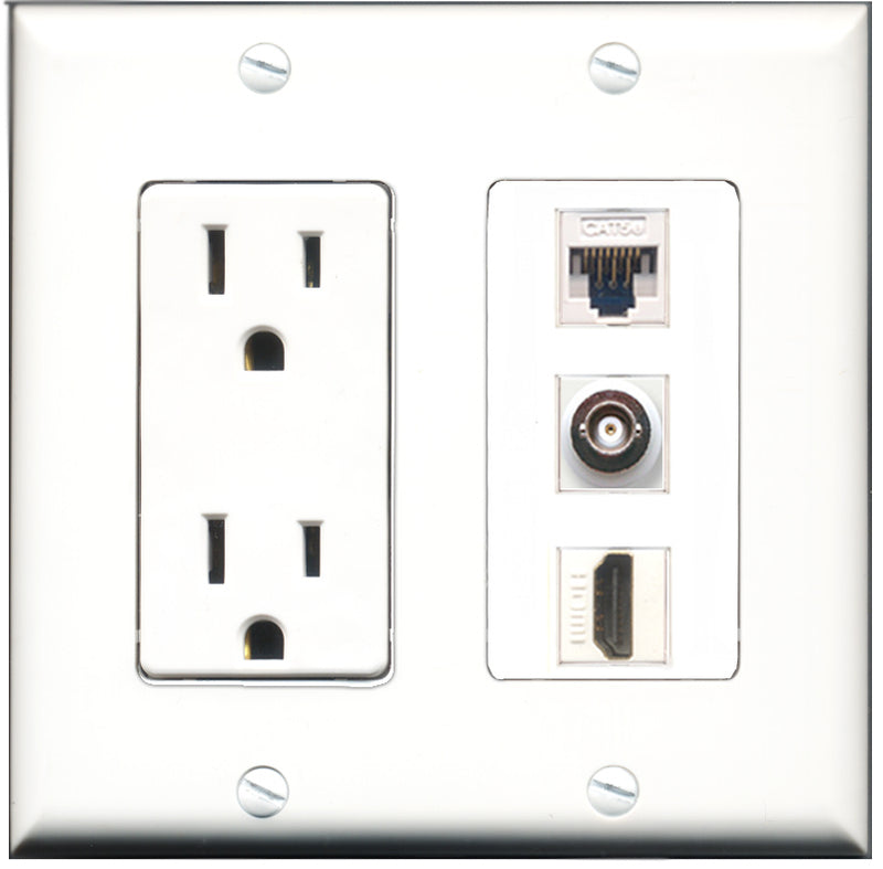Wallplate City - 15 Amp Power Outlet 1 Port HDMI 1 Port BNC 1 Port Cat5e White Decorative Wall Plate