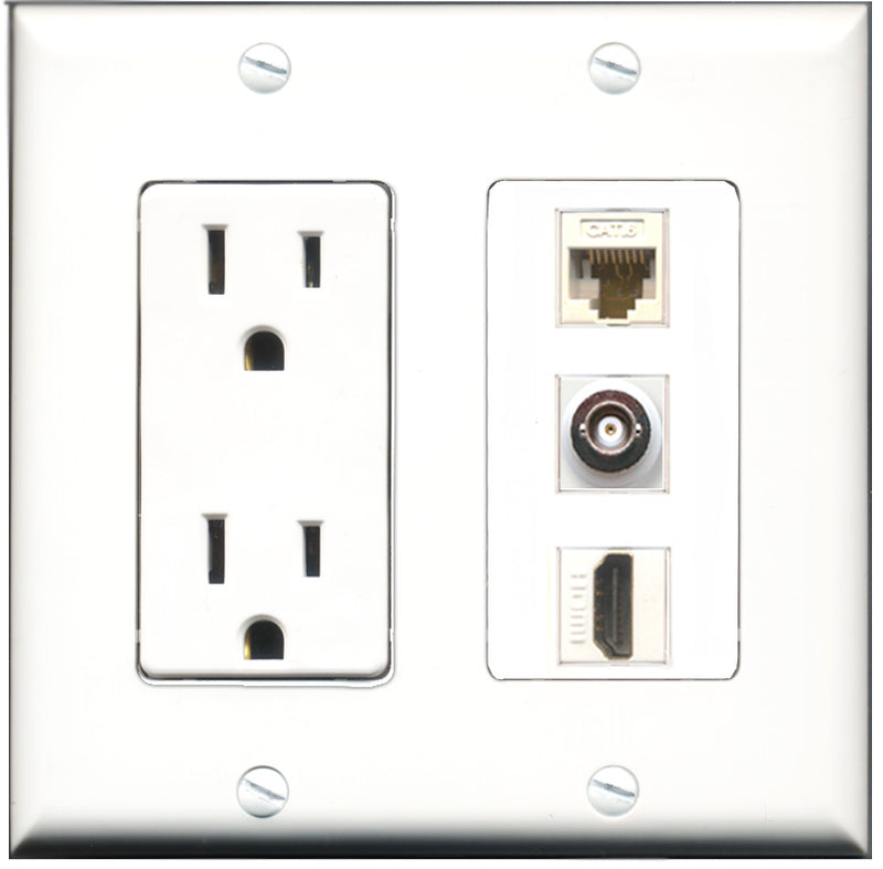 Wallplate City - 15 Amp Power Outlet 1 Port HDMI 1 Port BNC 1 Port Cat6 White Decorative Wall Plate