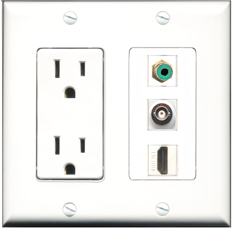 Wallplate City - 15 Amp Power Outlet 1 Port HDMI 1 Port RCA Green 1 Port BNC Decorative Wall Plate