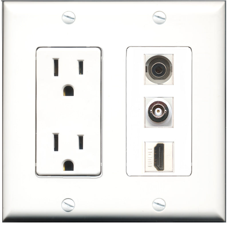 Wallplate City - 15 Amp Power Outlet 1 Port HDMI 1 Port 3.5mm 1 Port BNC Decorative Wall Plate