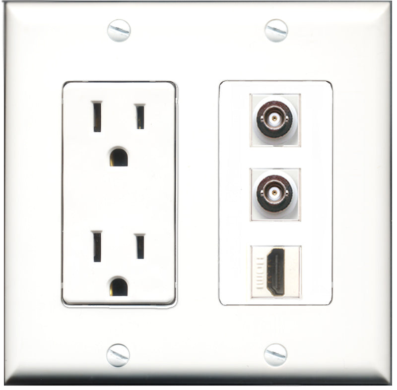 Wallplate City - 15 Amp Power Outlet 1 Port HDMI 2 Port BNC Decorative Wall Plate