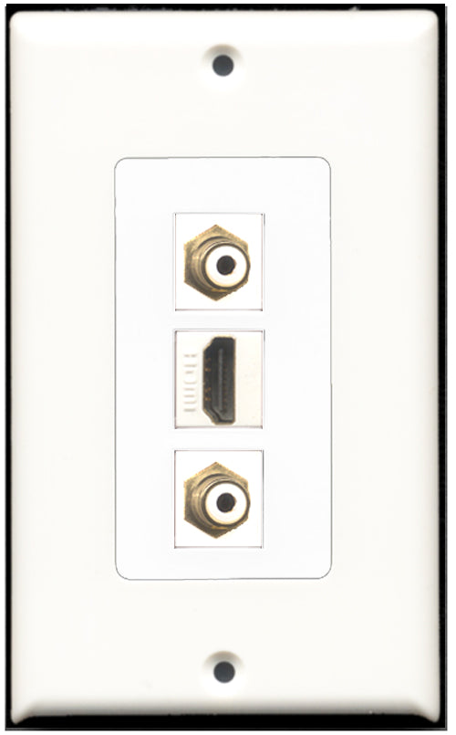 Wallplate City - 1 Port HDMI 2 Port RCA White Wall Plate F/F Decorative