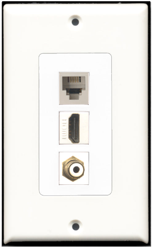 Wallplate City - 1 Port HDMI 1 Port RCA 1 Port Phone RJ11 RJ12 Wall Plate F/F Decorative