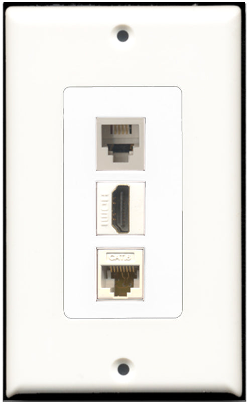 Wallplate City - 1 Port HDMI 1 Port Phone RJ11 RJ12 1 Port Cat6 Wall Plate F/F Decorative