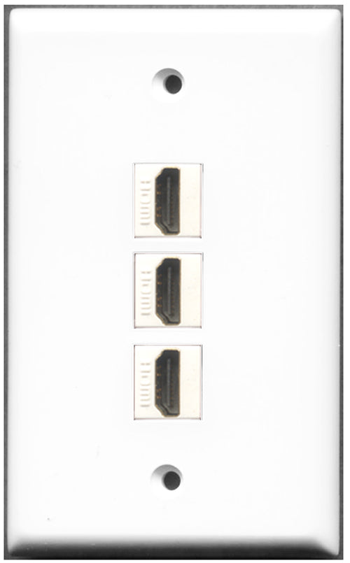 Wallplate City - 3 Port HDMI Wall Plate F/F White