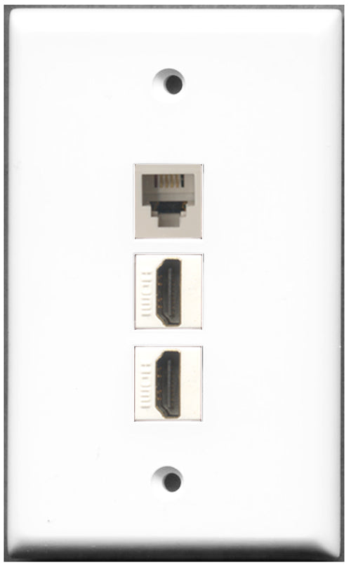 Wallplate City - 2 Port HDMI 1 Port Phone RJ11 RJ12 Wall Plate F/F White