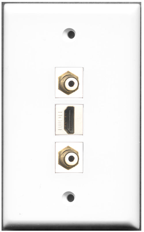 Wallplate City - 1 Port HDMI 2 Port RCA Wall Plate F/F White