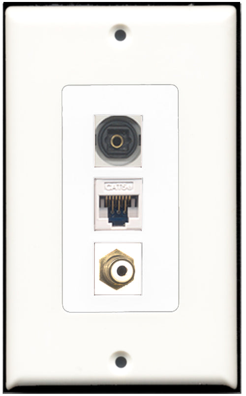 Wallplate City - 1 Port RCA 1 Port Toslink 1 Port Cat5e Wall Plate F/F Decorative