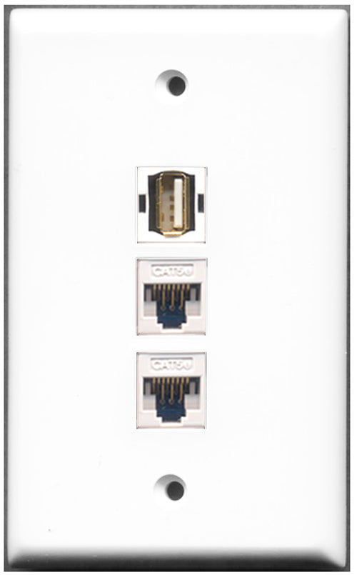 Wallplate City - 1 Port USB A-A 2 Port Cat5e Wall Plate F/F White