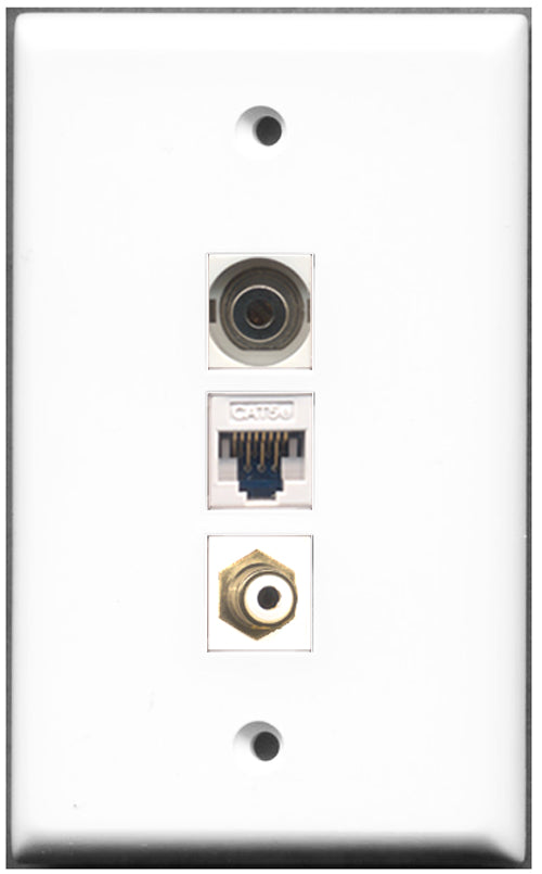 Wallplate City - 1 Port RCA 1 Port 3.5mm 1 Port Cat5e Wall Plate F/F White
