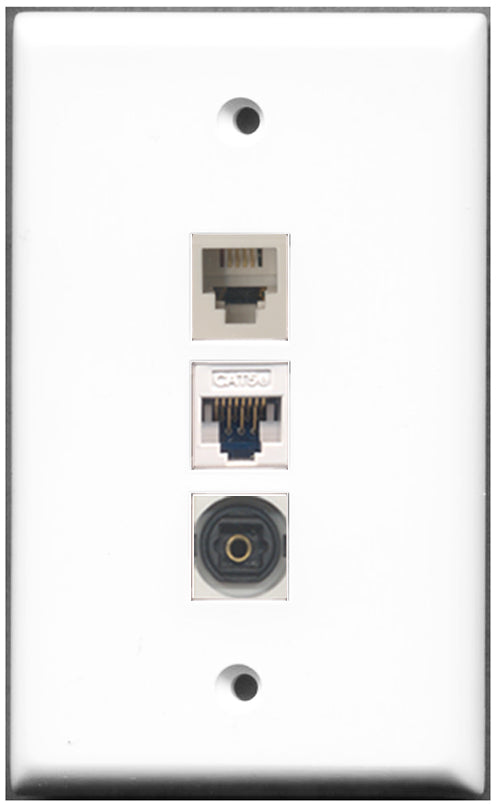 Wallplate City - 1 Port Phone RJ11 RJ12 1 Port Toslink 1 Port Cat5e Wall Plate F/F White